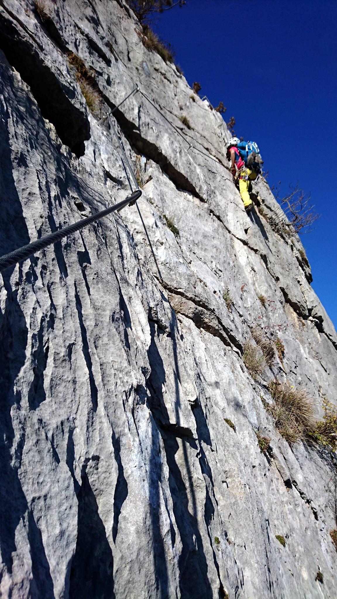 Erica al termine del bel traverso esposto sul terzo muro