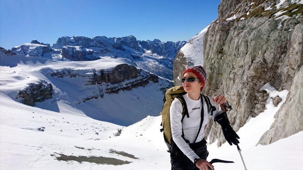 Erica al termine della seconda rimonta con il bel Brenta sullo sfondo