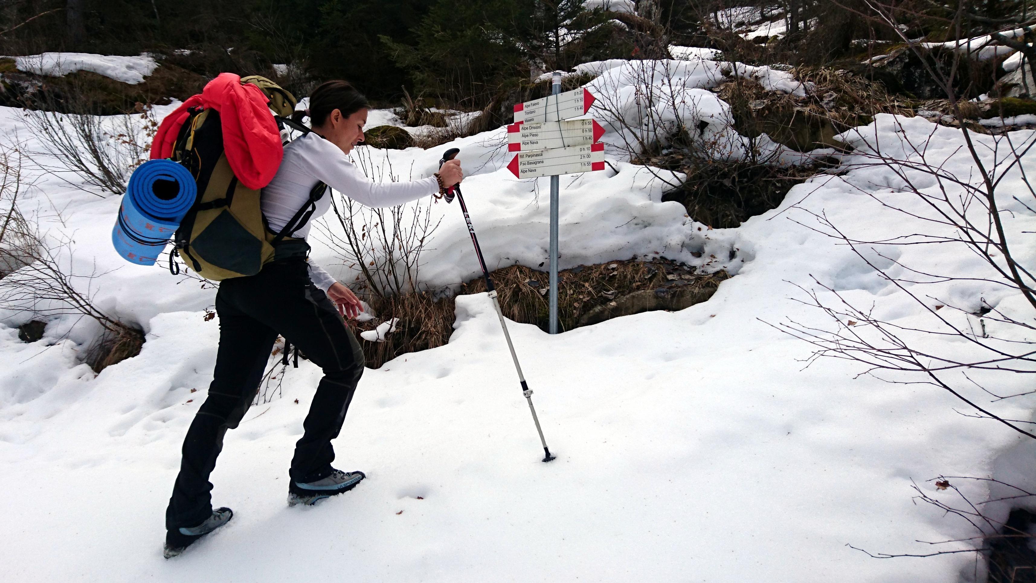 eccoci al nostro bivio: avendo scelto di affrontare l'ingresso passando per la porta di Regozzale ci dirigiamo verso l'Alpe Drisoni e Nava. Davanti a noi intravediamo una traccia semicoperta da accumuli di neve