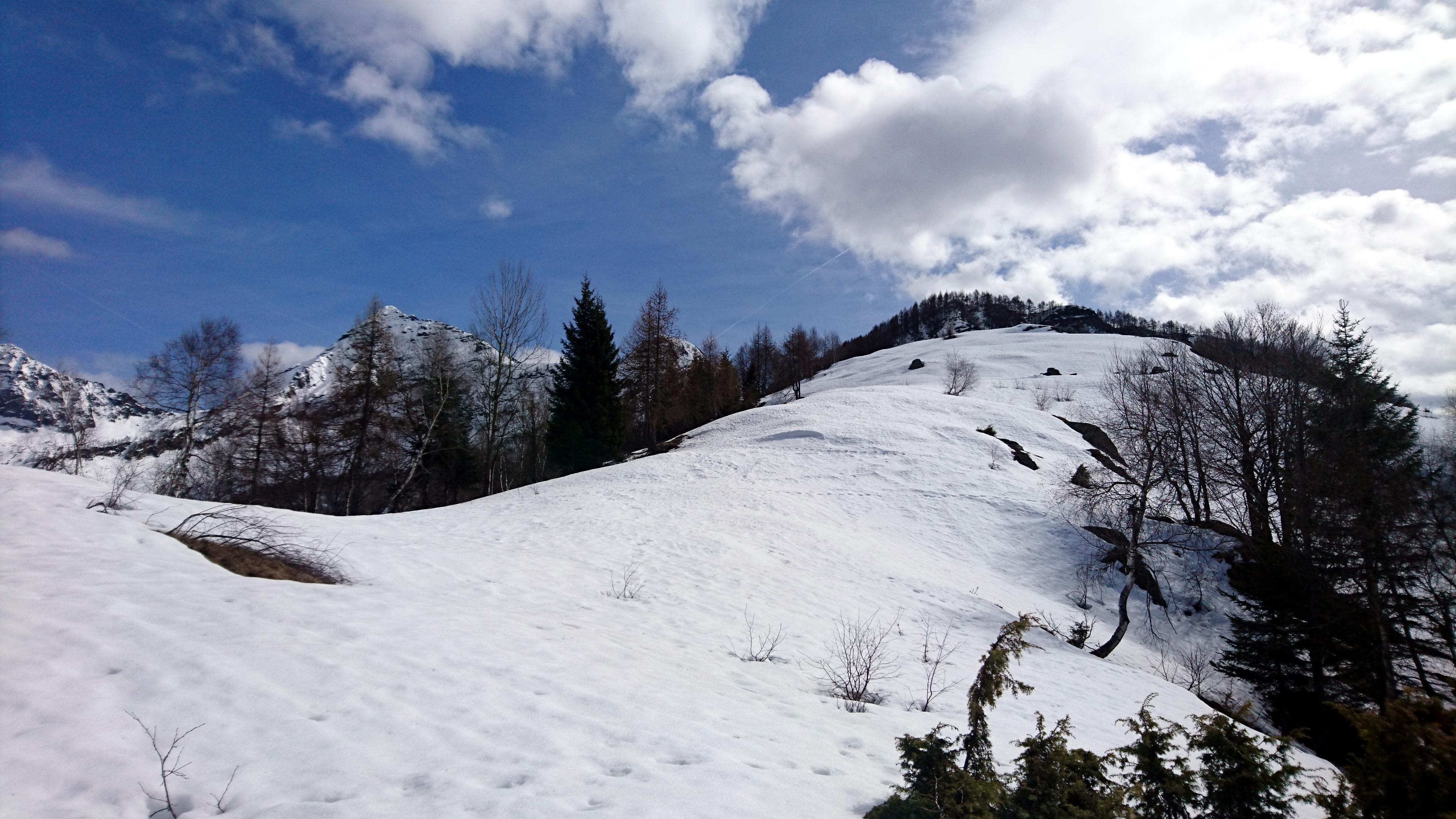 da qui il sentiero (sommerso dalla neve) prosegue in cresta fino all'Alpe Nava: si sprofonda fino alla vita nella neve-pappa, il percorso è tutto da tracciare e noi siamo decisamente indietro sulla tabella di marcia, oltre che già molto stanchi
