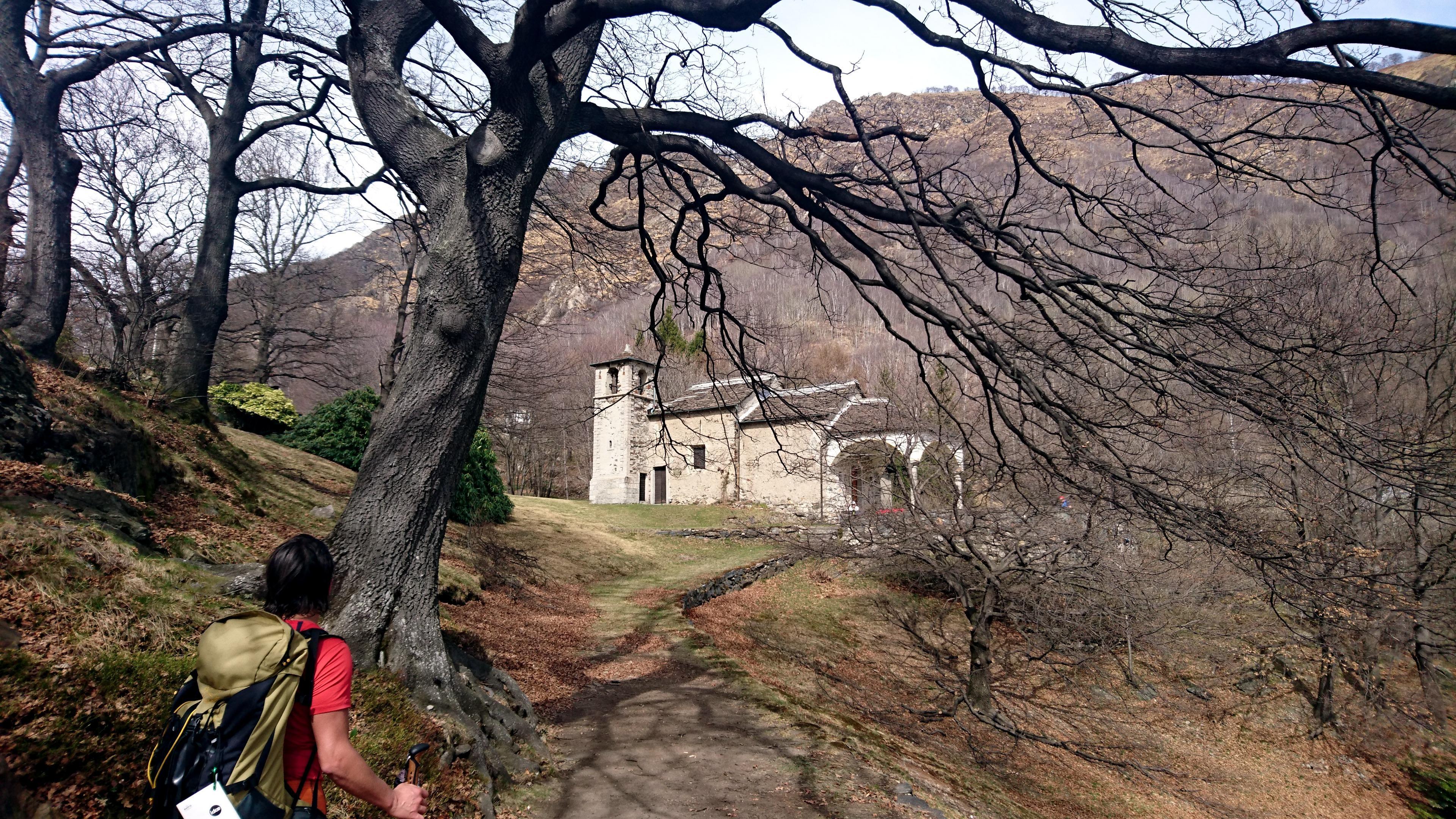 avvistiamo l'Eremo, che sorge su un'Alpe curatissima, con prati all'inglese, grandi alberi perfettamente potati e rododentri purtroppo non ancora fioriti. Un luogo fiabesco.