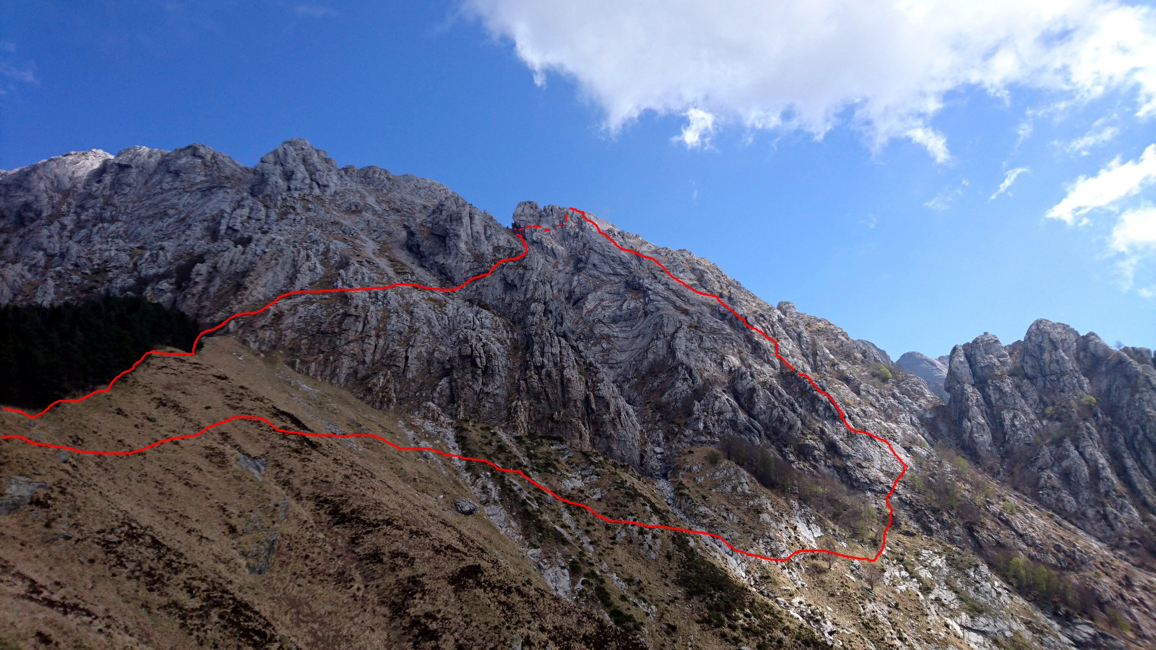 Ecco più o meno il nostro tragitto a partire dalla Foce Rasori. A destra la via di salita. A sx la discesa