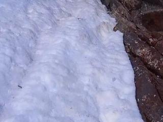 Nel punto centrale la goulotte si stringe e qui si trova il ghiaccio