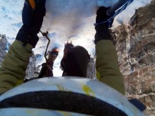 In rimonta nella goulotte sul punto ghiacciato