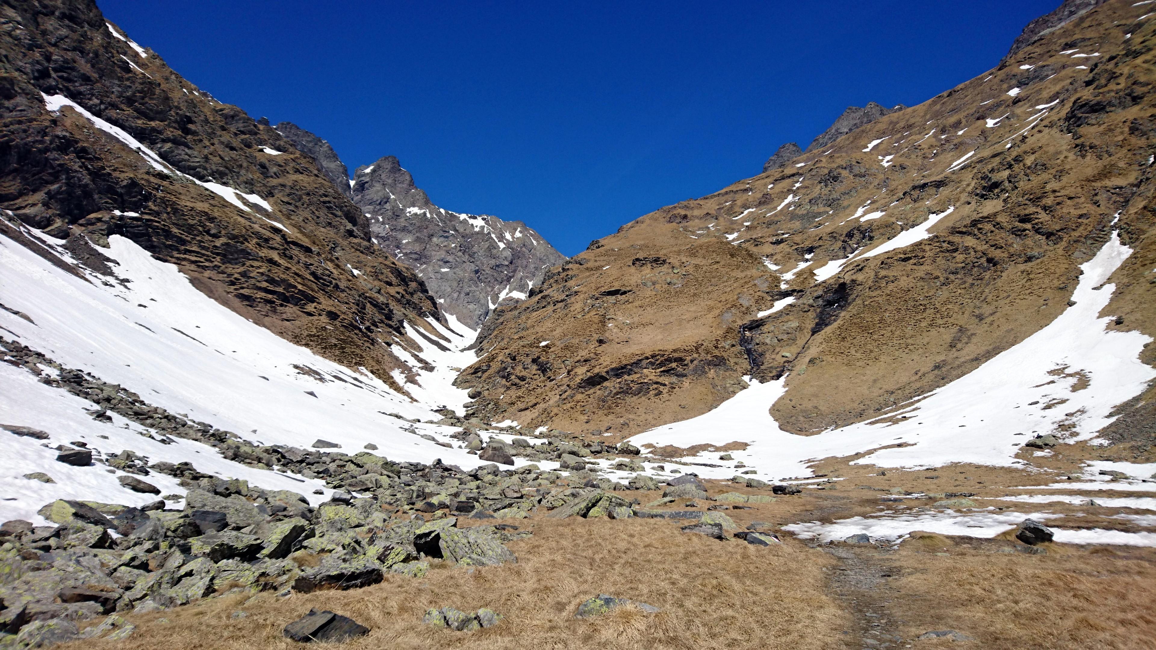 La piana tra il rifugio Coca e la conca dei giganti che si raggiunge dalla lingua di neve in foto