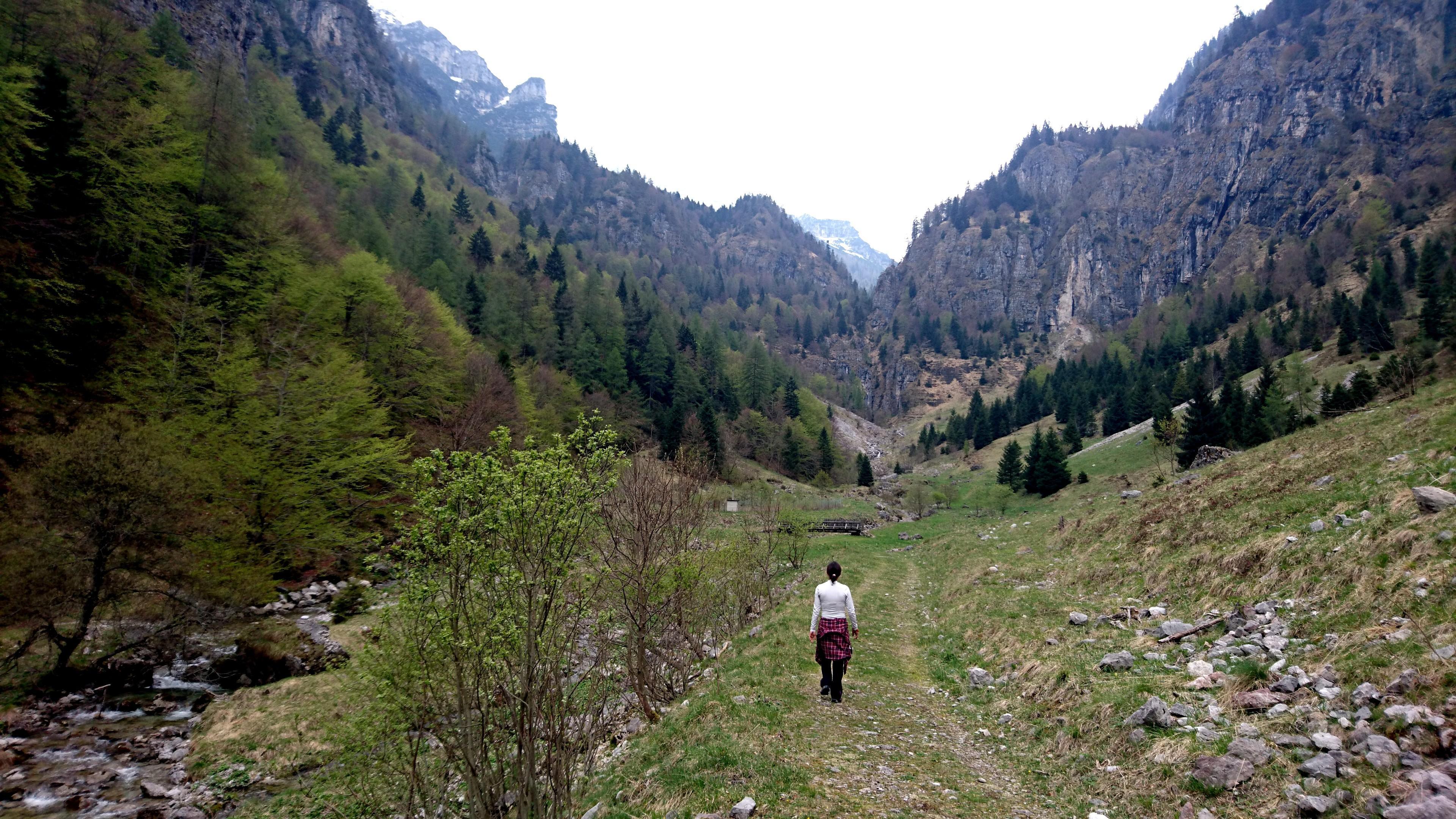 La prima parte della valle è tutta in falsopiano fino a raggiungere questo pratone e una piccola baita, dalla quale il sentiero inizia a salire in modo più deciso