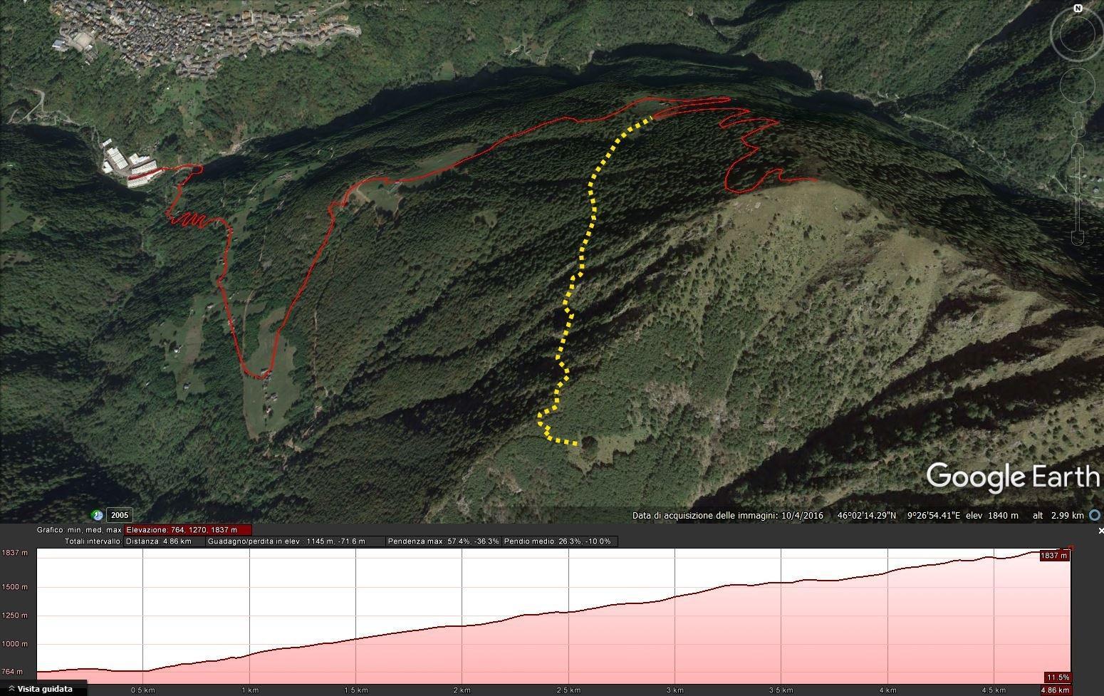 mappa: in rosso la salita per il Pizzo d'Alben, in giallo la deviazione che è possibile prendere dall'Alpe Chiarino per arrivare al Faggio del Piancone