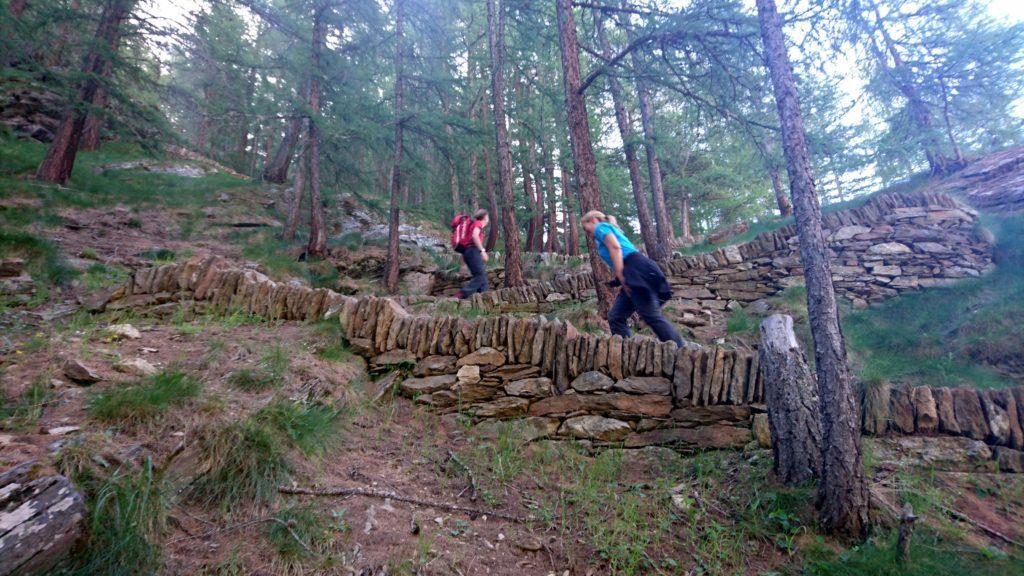 Luca e la Eli in risalita lungo i tornanti della ripida mulattiera nel bosco, in direzione del rifugio Chabod