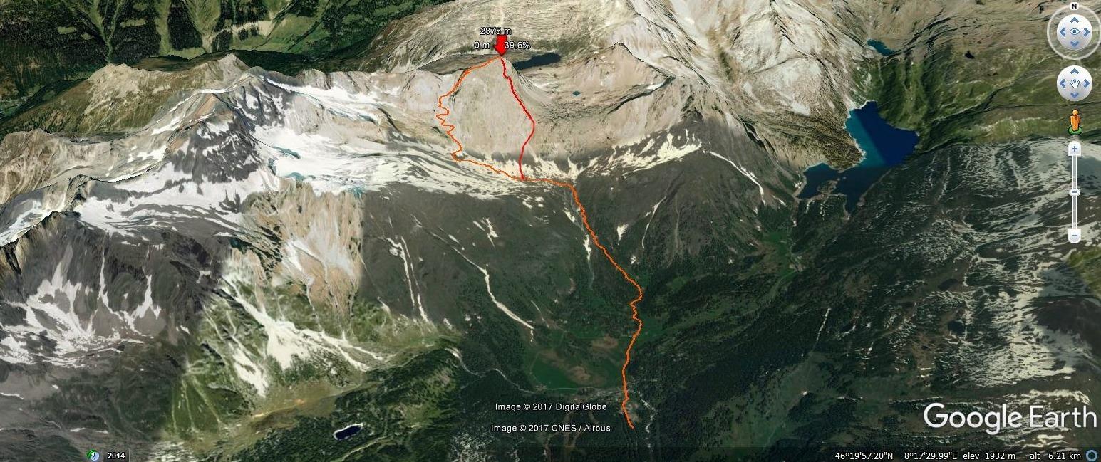 Il nostro giro riprodotto su google earth. A destra in rosso è segnato l'itinerario di salita a partire dalla deviazione dal sentiero ufficiale