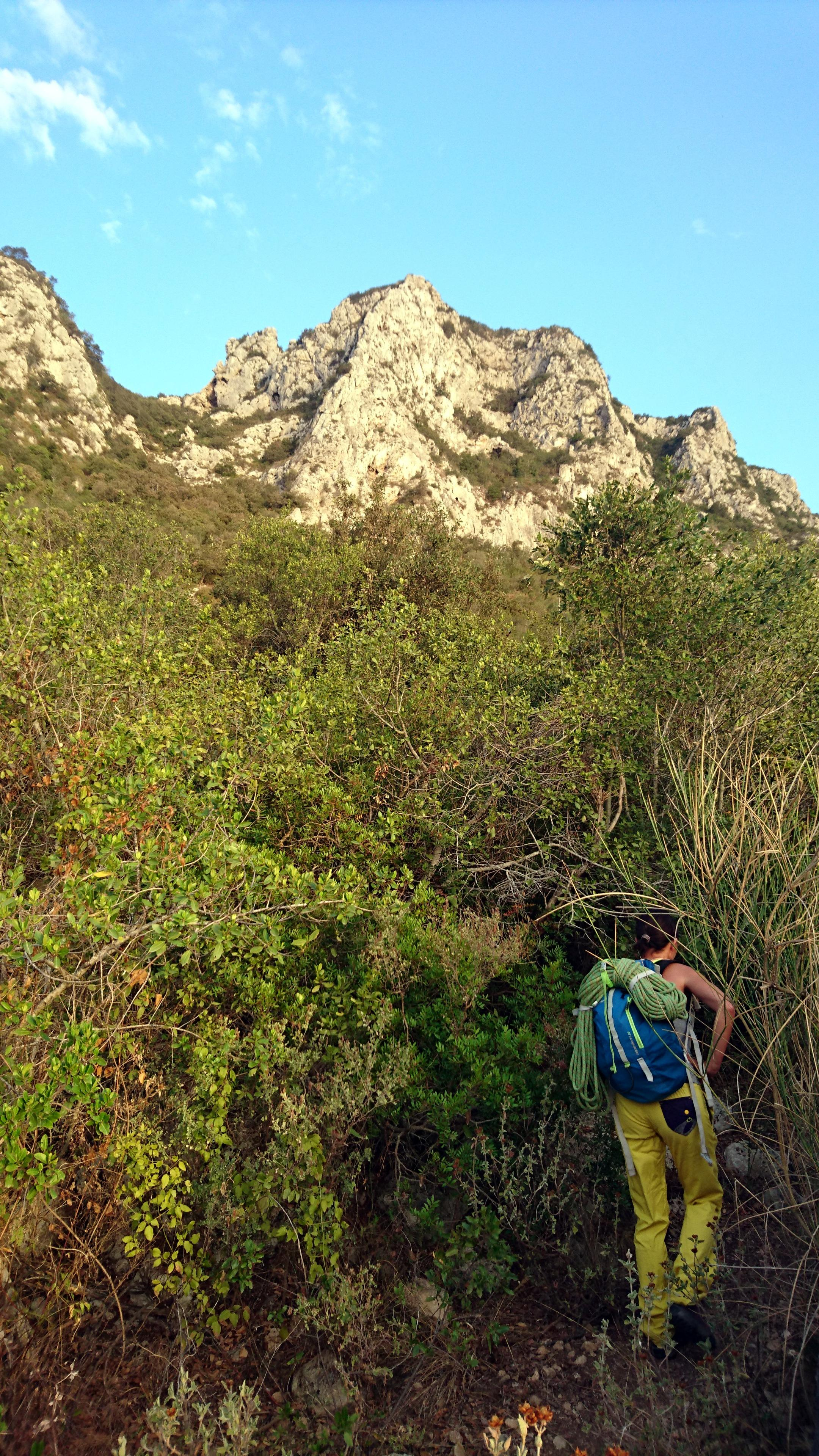 Il sentiero procede nella fitta boscaglia ma è ben tracciato e ci sono anche delle corde fisse nei punti più brutti