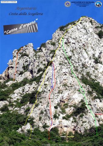 La via è quella gialla. Foto del sito www.planetmountain.com. Guide alpine alta Valtellina. Guida Eraldo Meraldi