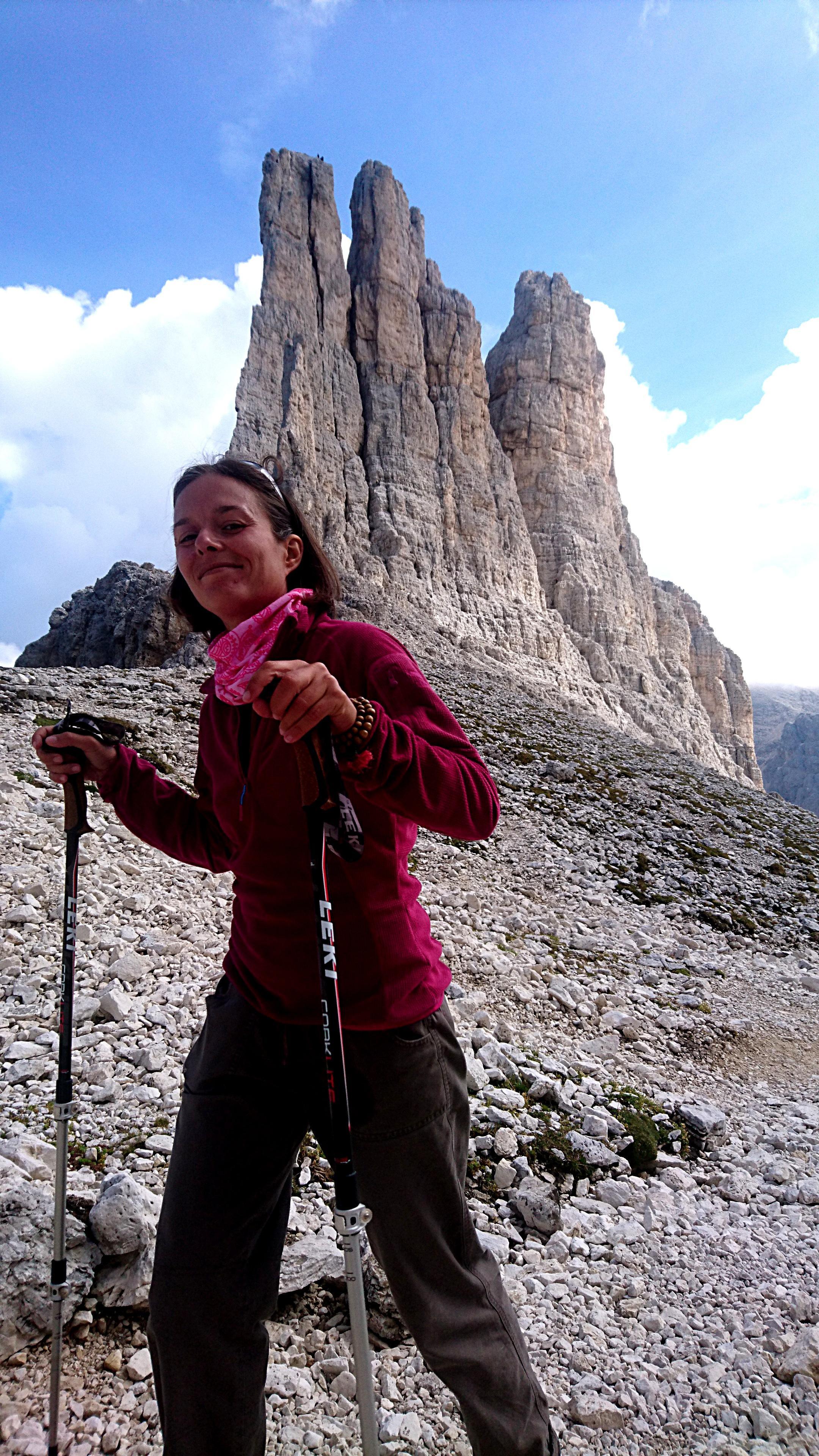 Erica soddisfatta di vedere da vicino questo famoso gruppo dolomitico