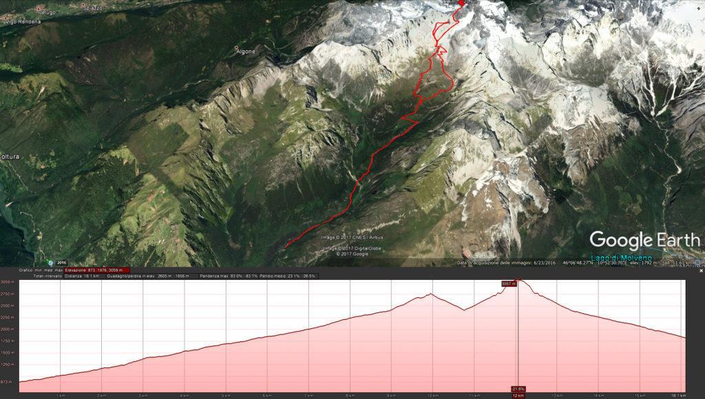 Mappa completa della gita: avvicinamento a piedi da valle fino al rifugio Agostini, salita e primo tiro sulla torre d'Ambiez e Cima d'Ambiez. Dettaglio della parte alta nella prossima foto