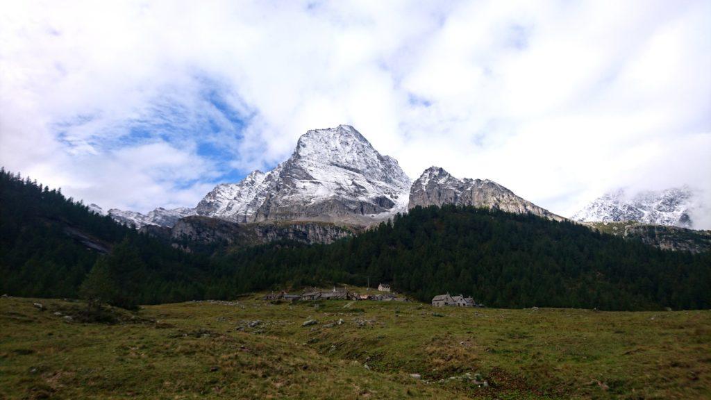 eccoci all'Alpe Veglia: la valle superati i primi 400 metri di dislivello si apre, regalandoci bellissimi paesaggi alpestri e la vista del vicino Monte Leone