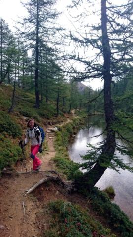 il sentiero costeggia il laghetto alpino