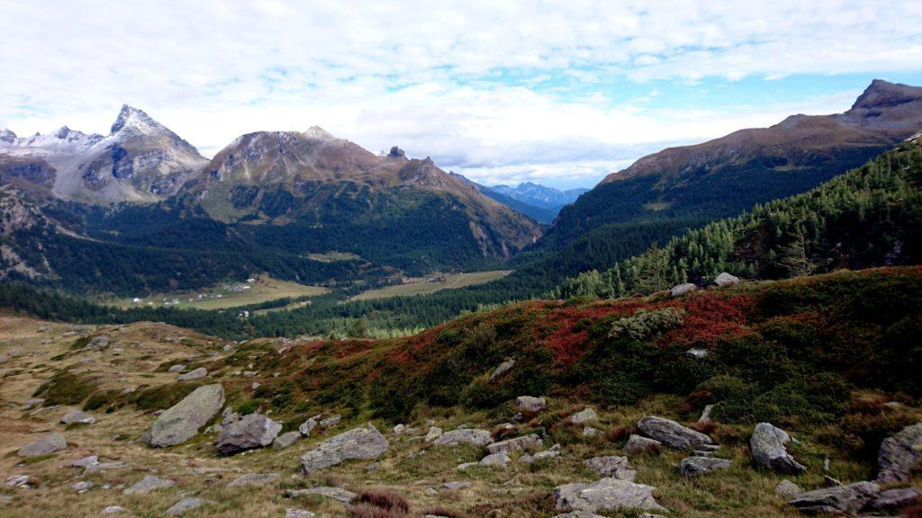 i colori incredibili della valle, sullo sfondo i pianori dell'Alpe Veglia