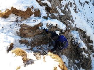 ultimo tratto del canalino (prestare attenzione al terreno un po' instabile, specialmente se mezzo ghiacciato)