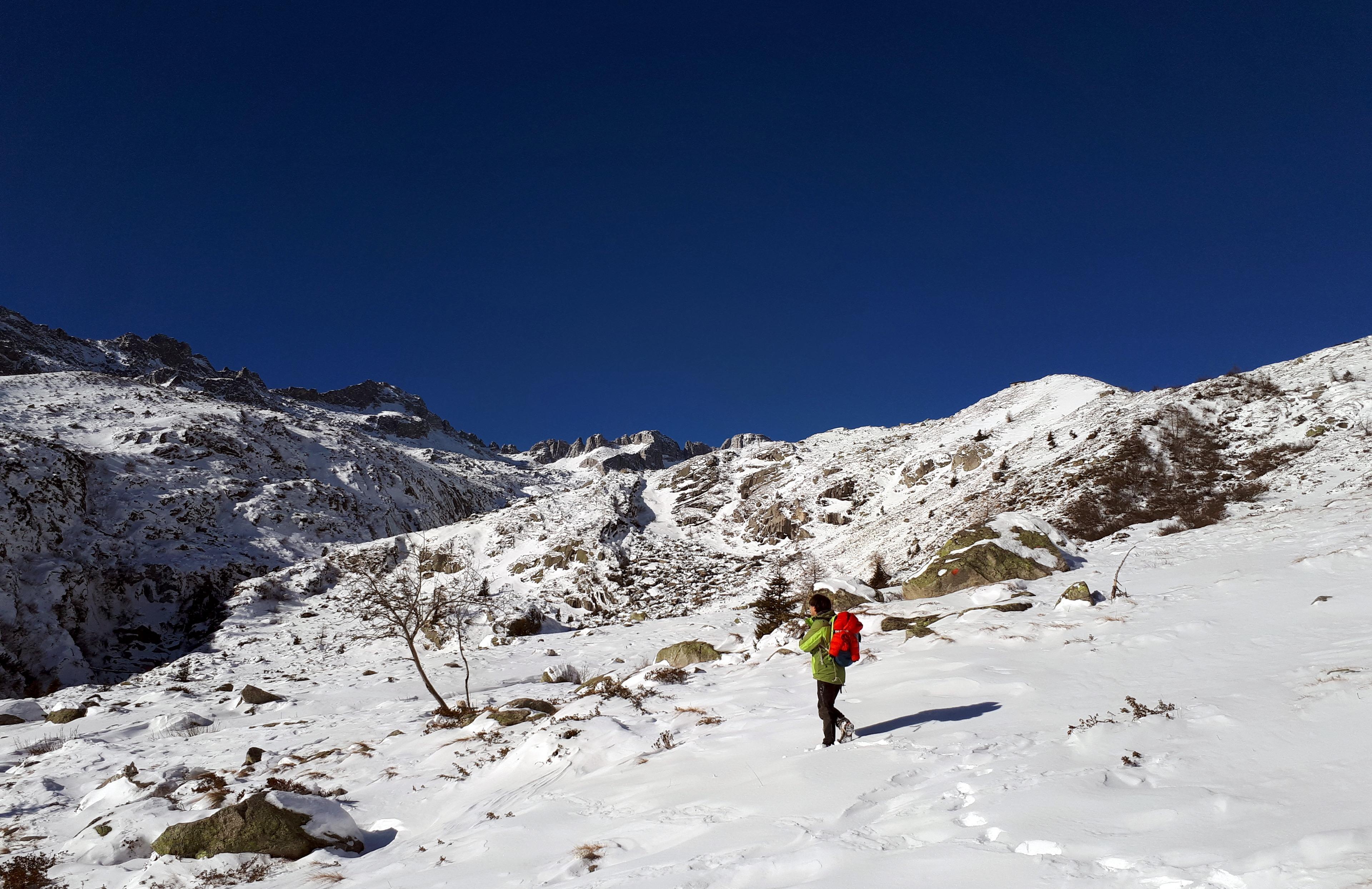 Si intravede la cima Presanella sullo sfondo. Noi intanto iniziamo ad avere la neve fino quasi alle ginocchia