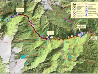 Mappa della val Genova e delle sue traverse. Il nostro giro è ricalcato in viola, nella parte superiore della cartina