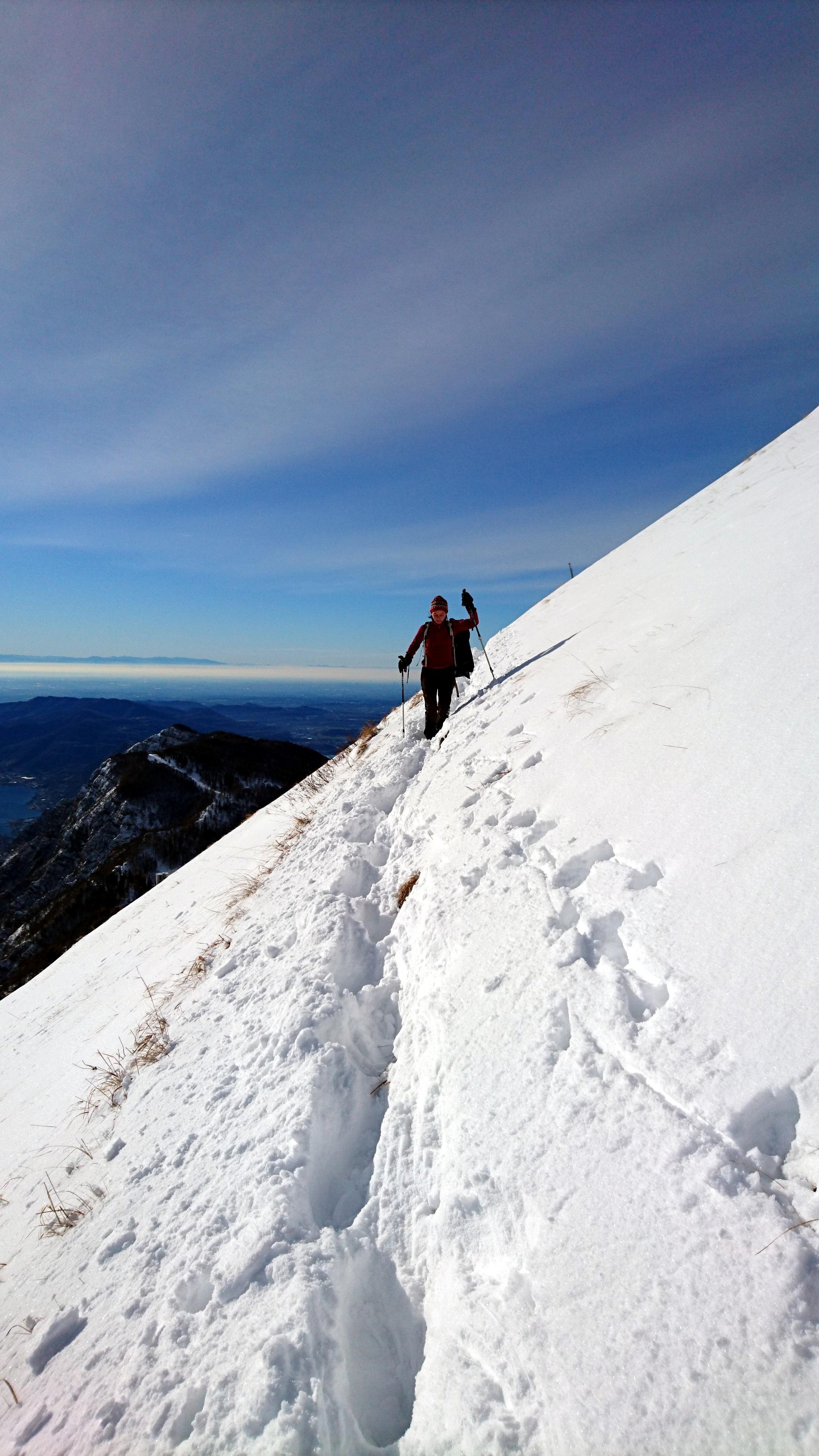Erica nella prima parte del traverso che taglia la montagna in direzione della cresta Sinigallia