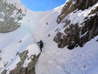 terminata la parte di rocciosa, ci apprestiamo ad uscire sulla selletta che poi si apre in direzione della cresta