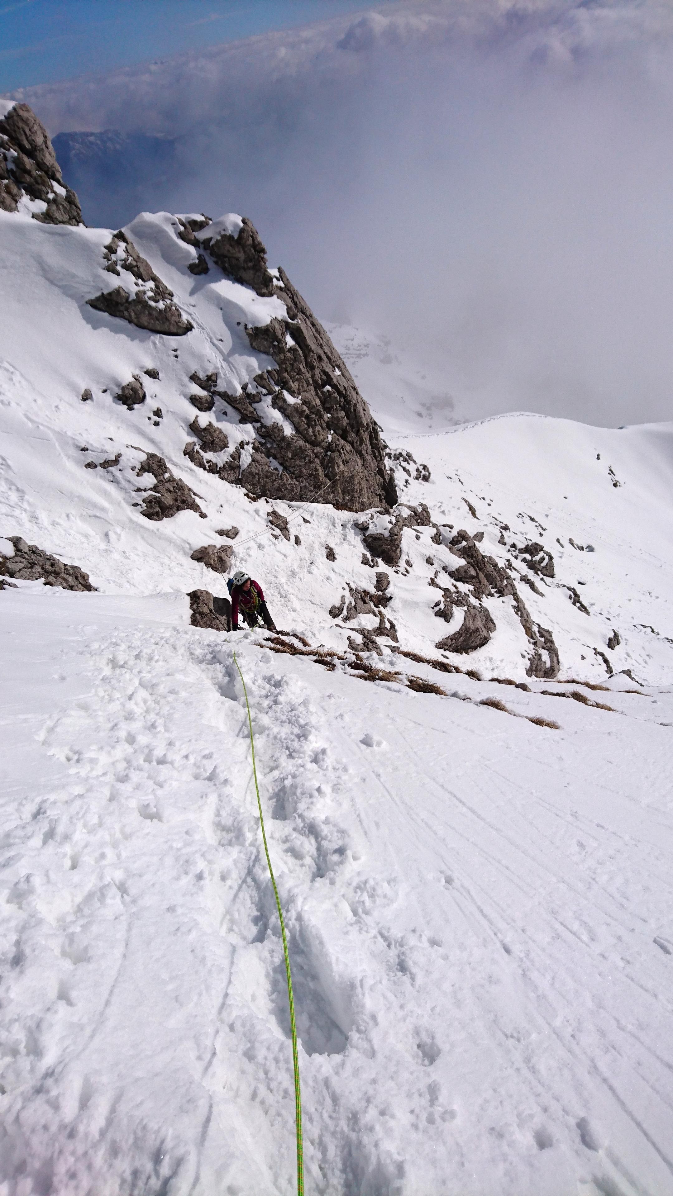 In arrivo verso il tratto di arrampicata finale