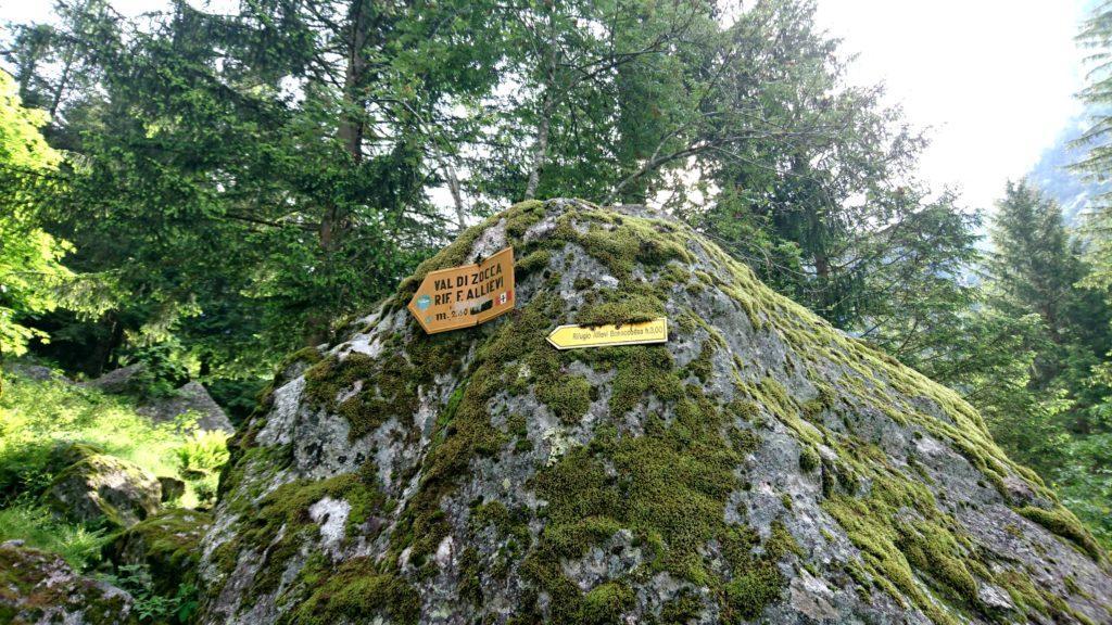 il sassone che segna il bivio per la Val di Zocca