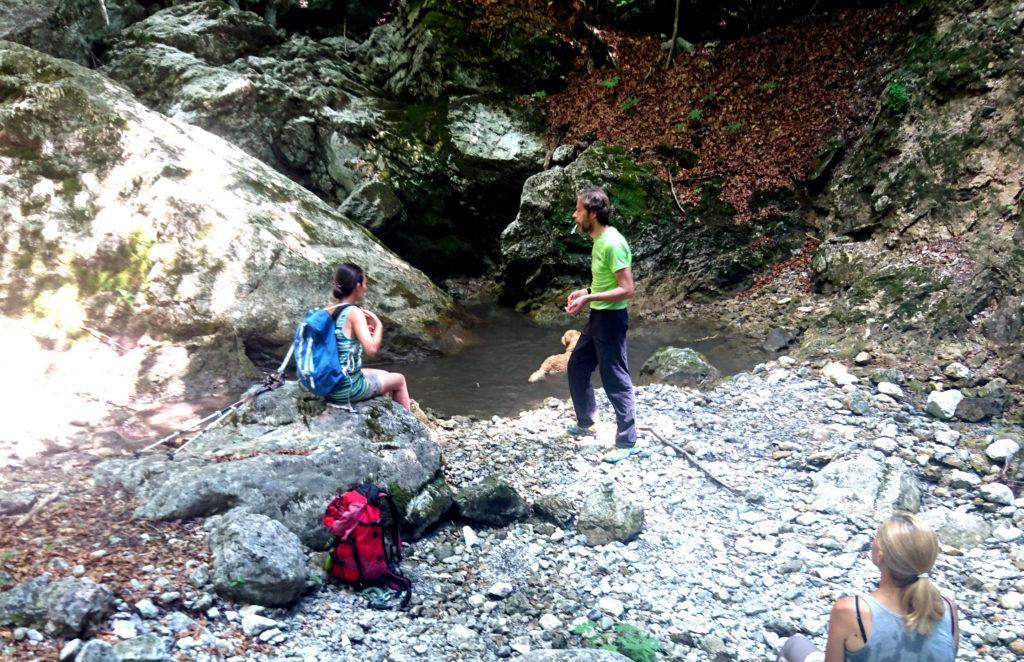 pausa bagno per l'amico peloso! Il sentiero passa accanto ad un torrente, ormai quasi in secca soprattutto nella parte alta