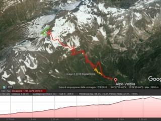 in rosso la via di salita (la parte verde finale indica la risalita semplice dal versante svizzero), in giallo il sentiero corretto in prossimità della casetta gialla
