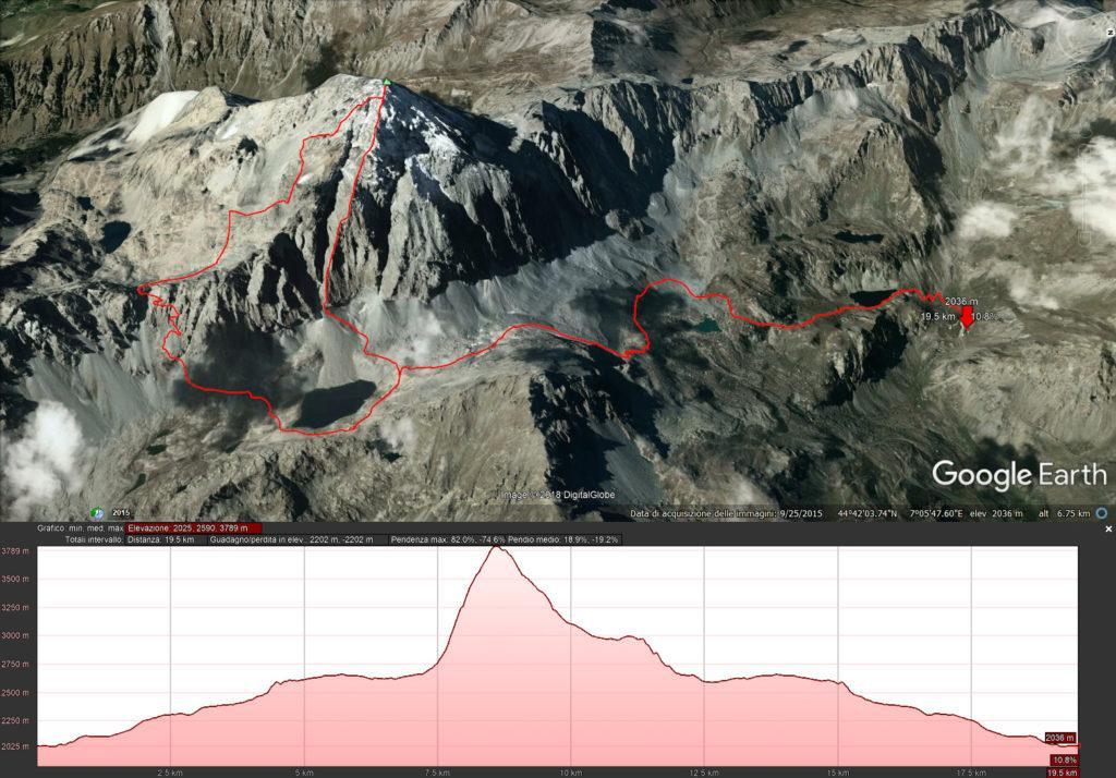 Il nostro percorso riprodotto su google. 2200mt di dislivello e 20km circa