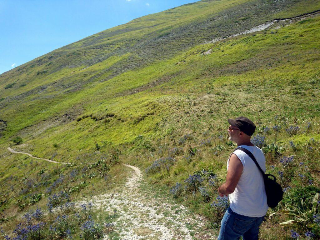 Andrea sul sentiero del Monte Sibilla