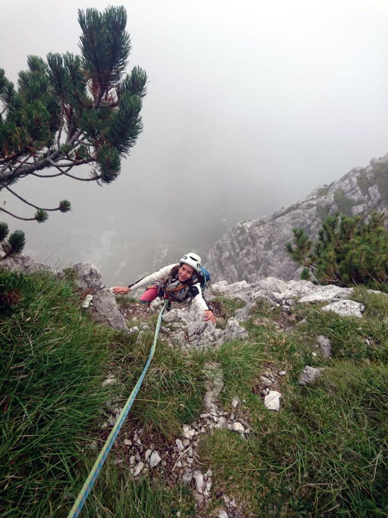 Erica in arrivo alla sosta sul grande pino mugo (terzo tiro)