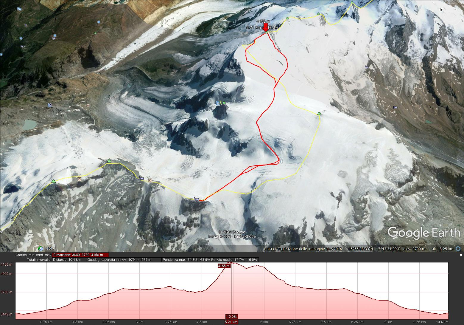 Mappa del nostro percorso. Dal Plateau Rosa alla cima del Breithorn Centrale