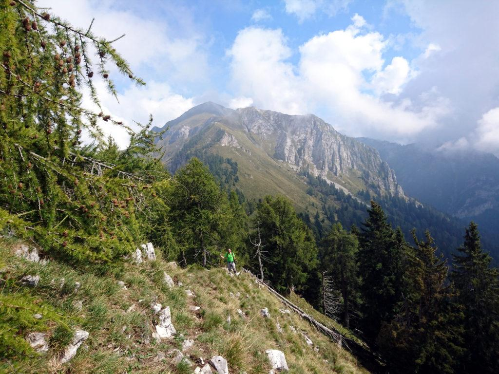 ultimo tratto di cresta prima della baita. Sullo sfondo, la cima del monte Cavallo