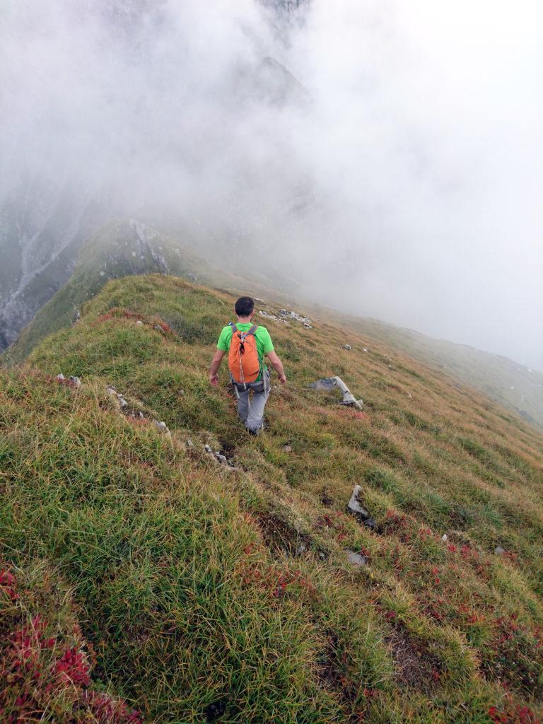 Dalla cima del Monte Secco si scende dal lato opposto per prati, senza una traccia reale