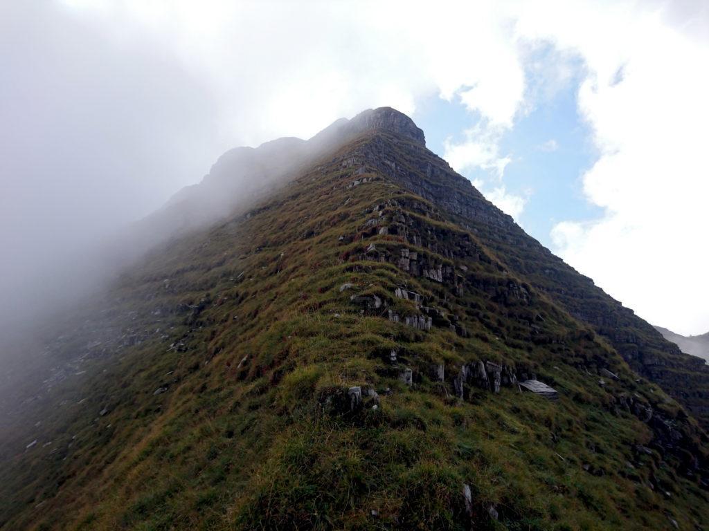 la ripida discesa appena effettuata dalla cima del Monte Secco fino alla sella sottostante