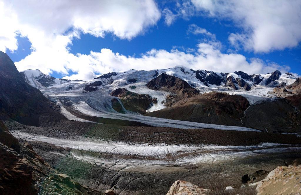 Panoramica del ghiacciaio con il San Matteo al centro