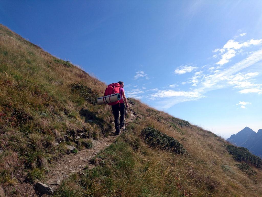 il sentiero continua a salire fino a raggiungere la lunga cresta del Mottac