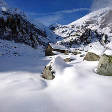 Prima ravanata invernale nel Vallone di San Grato: Madonna delle Nevi, Baite di Muni