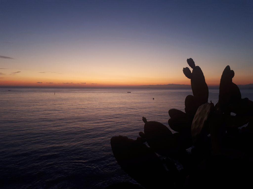il sole è ormai calato dietro l'orizzonte: restano i colori tenerissimi dei minuti che precedono il buio