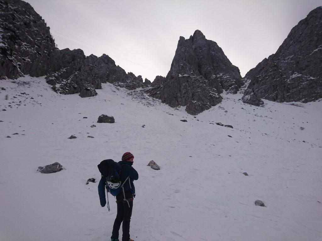 Erica sul nevaio che conduce all'attacco del canale