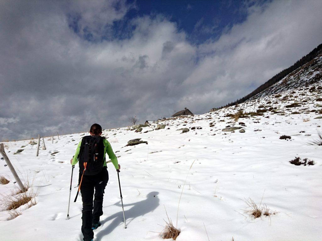 ci avviciniamo un po' rallentati dalla neve all'Alpe Bardughè