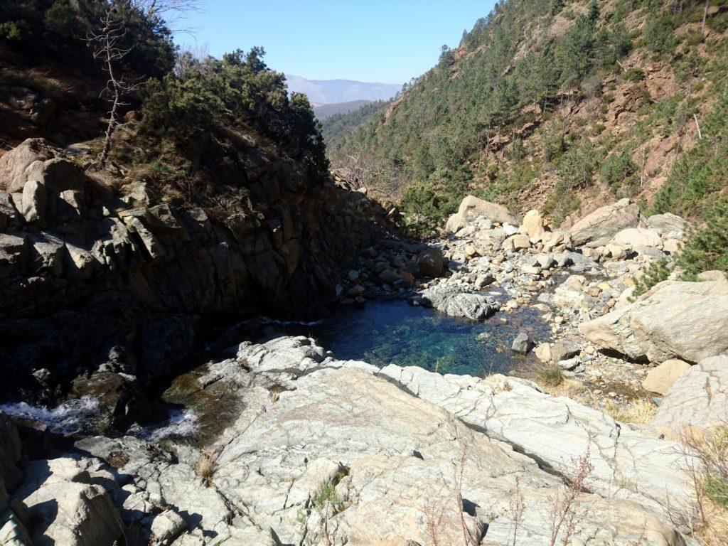 bella pozza formata dal Rio Baiardetta, in prossimità del masso del Ferrante