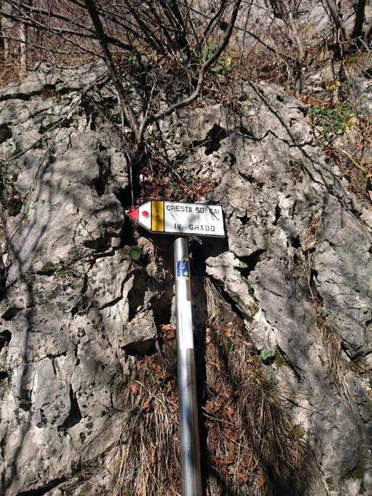 il cartello che indica il punto dove staccarsi dal sentiero che conduce alla bocchetta: proseguendo oltre invece si arriva alla Cresta OSA
