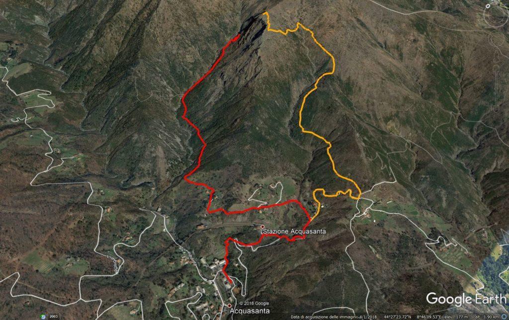 mappa: in rosso l'avvicinamento e in giallo il nostro sentiero di discesa