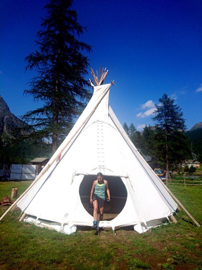 i teepee allestiti nel campeggio Rio Buscaglia