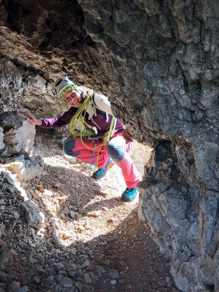 la grotta in cui bisogna infilarsi per proseguire