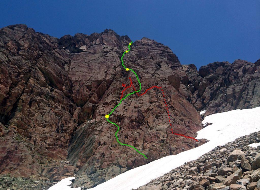 in teoria quella verde è la via del Crepone: la X segna il punto dove noi abbiamo sbagliato, ritrovandoci nel diadro con il masso incastrato: in rosso le peripezie per uscire dalla parete