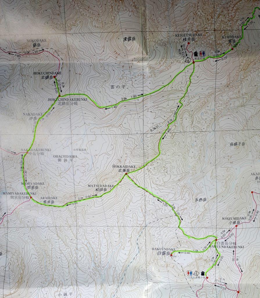 estratto della mappa disponibile presso i Visitor Center: quello evidenziato in verde è il nostro percorso