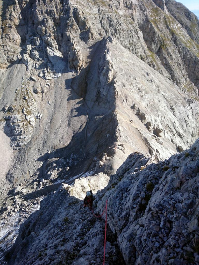 ultimo tratto del diedro prima di arrivare a monte della cresta